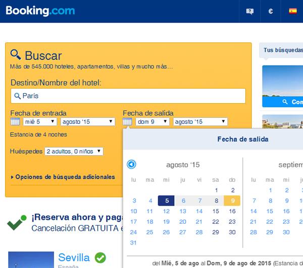 Metiendo fechas en la web de booking para reservar un hotel ya sea para París, para Londres o Roma