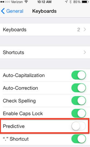 Hide text predictions in iOS 8