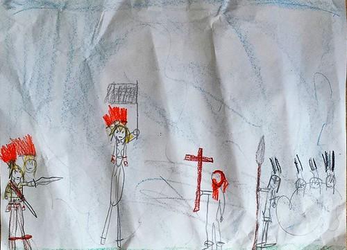 Saint Martin stands up to soldiers #waldorf #sacramentowaldorfschool #7yearold #secondgrader #secondgrader #saints