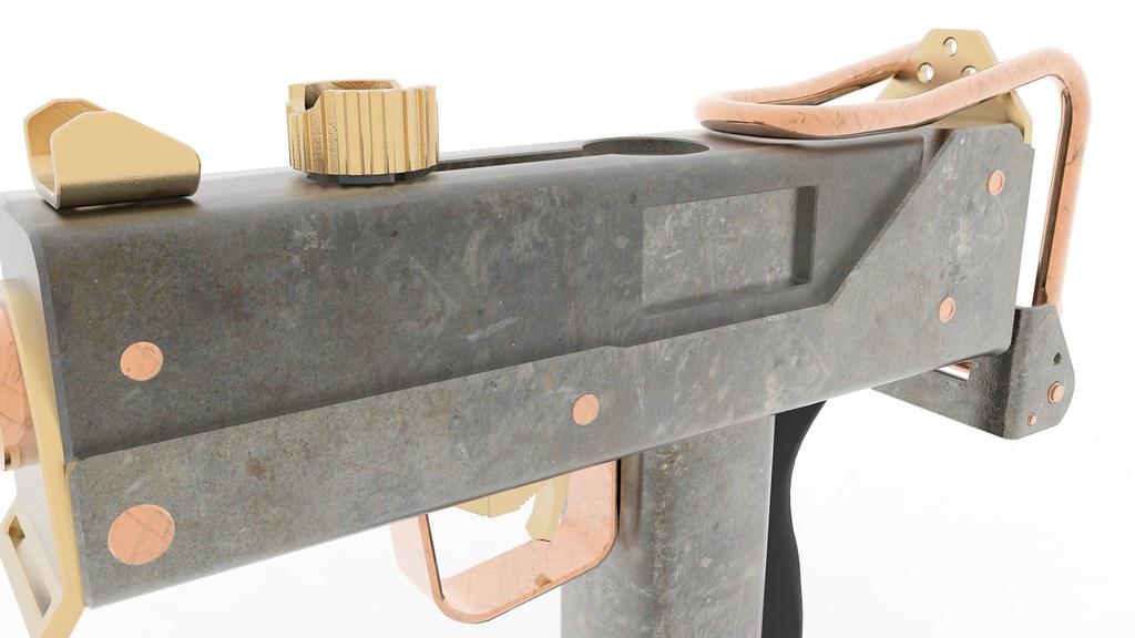 Mac 10 Sub Machine Gun Textured 3d Model