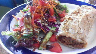 VeganSausage Roll with Salad at Petty Cash