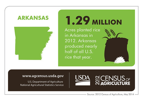 Variety.  Many Arkansas land-owners collectively harvest crops from catfish to poultry to rice to snap beans to watermelons, making Arkansas agriculture thrive.  Check back next Thursday for more interesting information on another state from the 2012 Census of Agriculture!