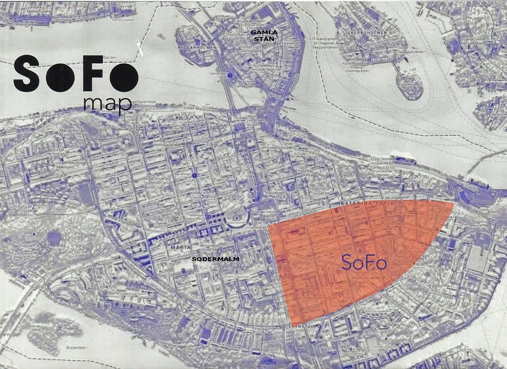 Ubicación del SoFo en Södermalm y Estocolmo