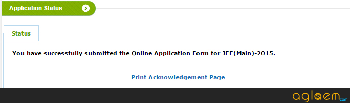 JEE Main acknowledgement page print screen