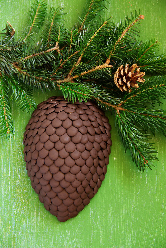 Chocolate fir cone - the idea of a Christmas cake