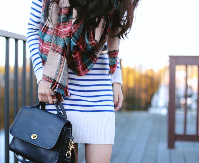 stripe sweater dress boots2