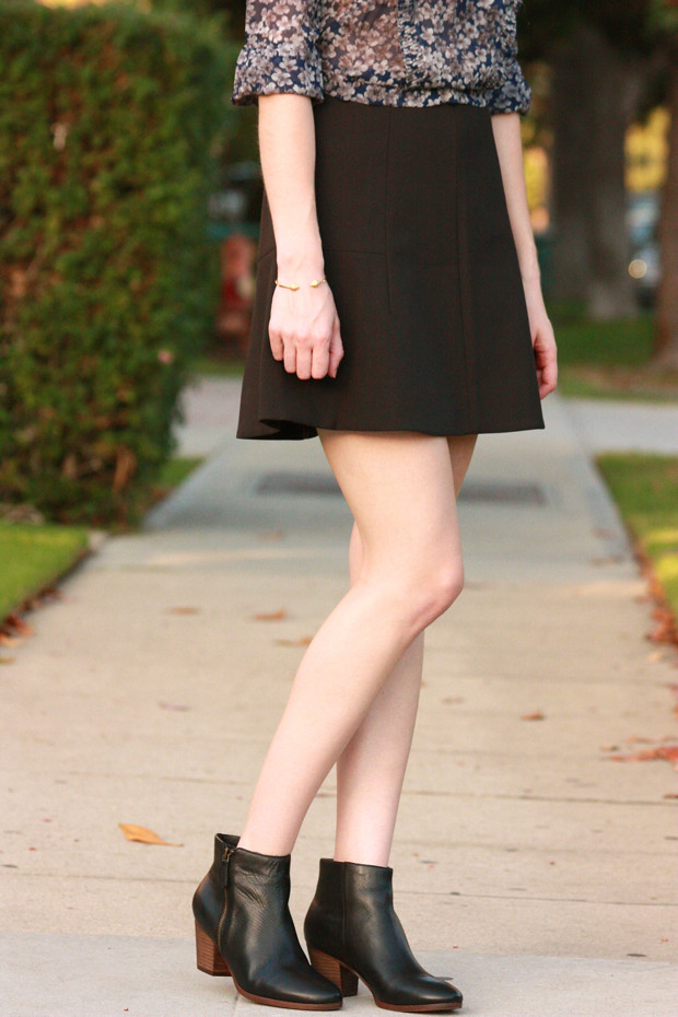Black Booties, Fit and Flare Skirt