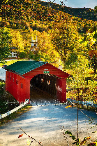 travel autumn fall church vertical architecture landscape colorful vermont seasons fineart scenic newengland nobody landmark historic foliage coveredbridge northamerica daytime quaint churchsteeple highangleview battenkillriver westarlington buildingexteriors bridgestructures
