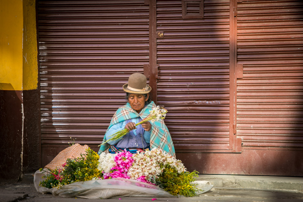 Una mujer vende flores en las calles de La Paz, donde viven mas de 2.500.000 personas y es una de las ciudades más altas del mundo, ubicandose a más de 3650 metros sobre el nivel del mar. (Tetsu Espósito)
