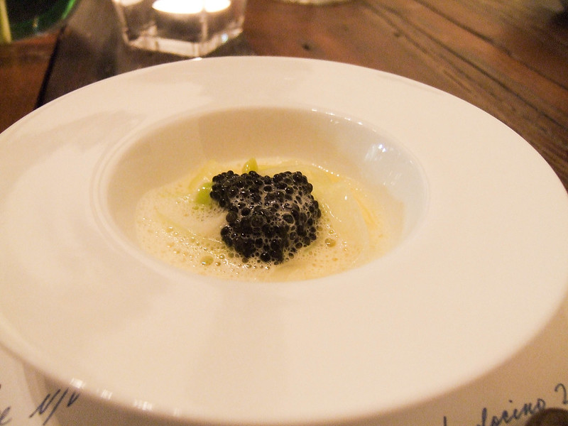 Leeks with oyster jus & caviar