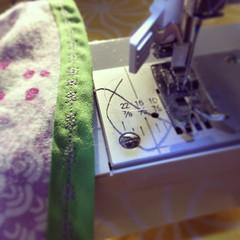 sewing, art, purple, green, blue,