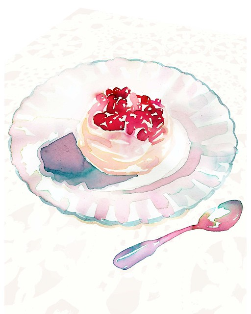 meringue with a layer of rose-flavoured cream topped with pomegranate jewels