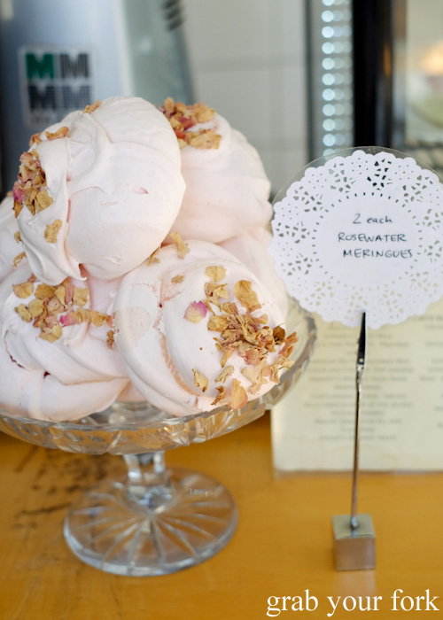 Rosewater meringues at Beatrix, North Melbourne