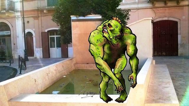 Noicattaro. Vignetta fontana via C. Positano intero
