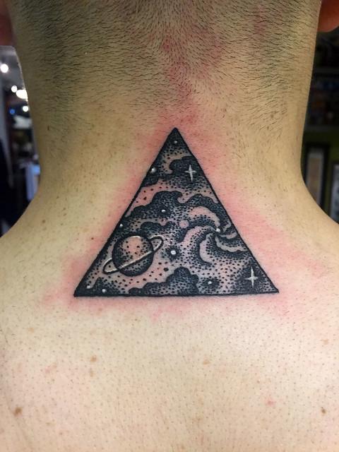 Galaxy triangle tattoo