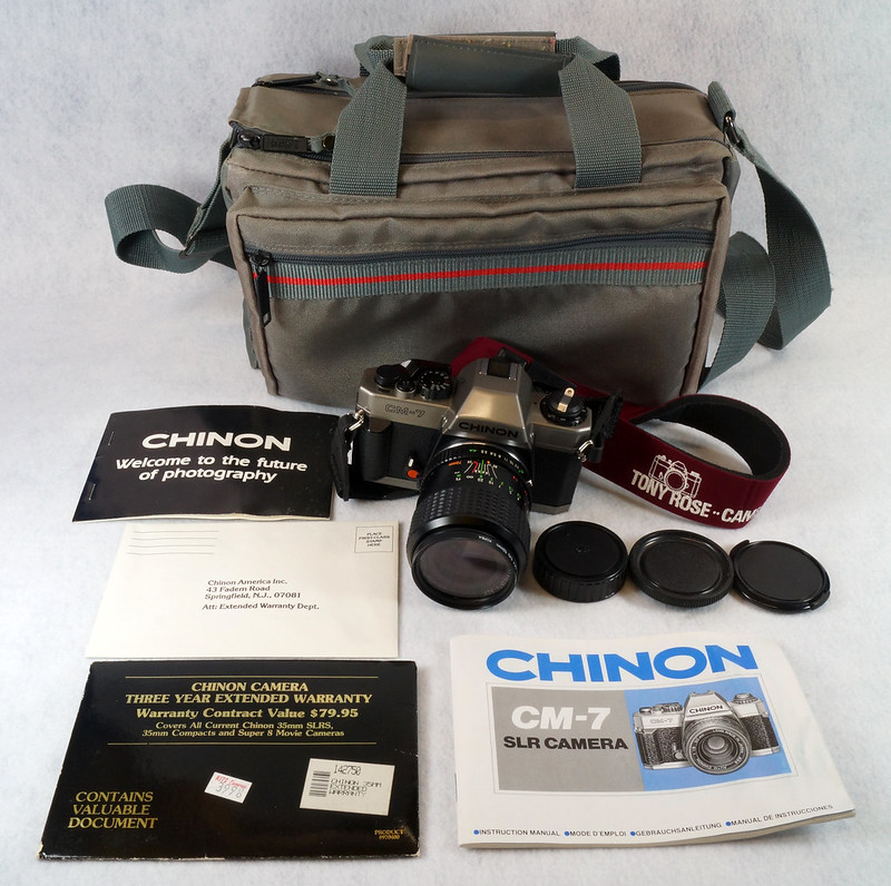 RD14976 Chinon CM-7 35mm SLR Film Camera, 50mm Ozunon Lens, Manuals & Coastar Case DSC07819