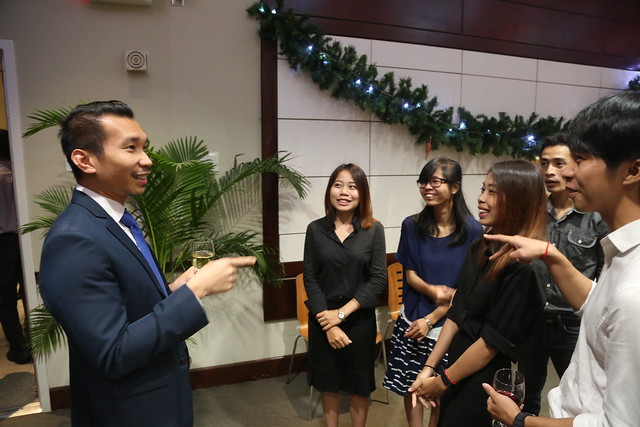 U.S. Embassy welcomes friends of the U.S. Embassy Phnom Penh, YSEALI members, young archeitects from the Vann Molyvann Project and special guest Delphine Vann to open the new model exhibit at the Embassy and to enjoy the holiday festivities.