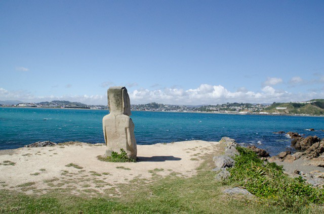 Moai looking to Wellington Airport