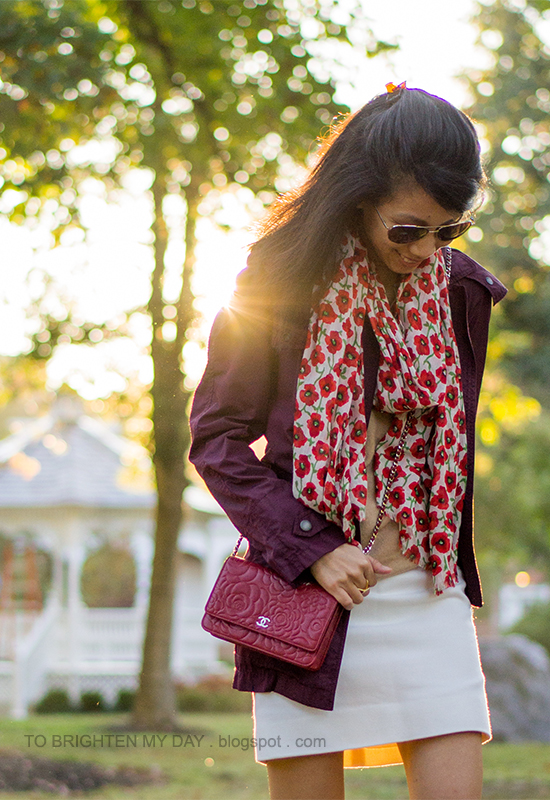 floral scarf, red jacket, camel sweater, red crossbody bag, white wool skirt