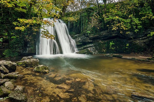 autumn motion tree water leaves waterfall rocks stream long exposure yorkshire blurred scenary foss janets dales malham