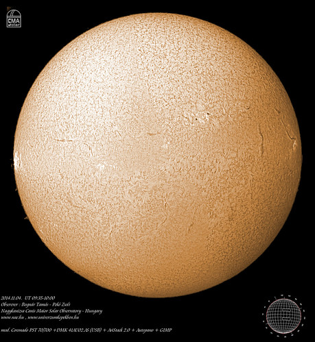 H-alpha full disk image of the Sun – 2014.11.04. - Bognár Tamás