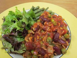 Brown Rice n Beans Jumble-aya, Lemon-Broiled Green Beans, salad with Back-to-Basics Balsamic Vinaigrette