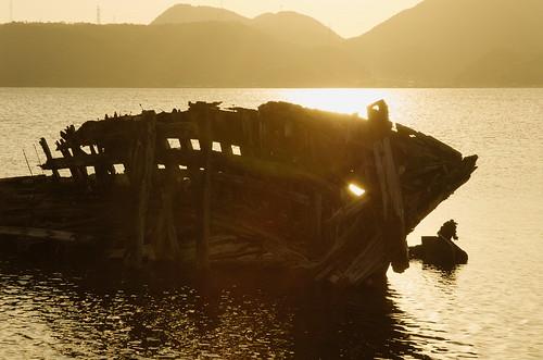 sunset japan ship shimane scrap 夕焼け 廃墟 夕 島根県