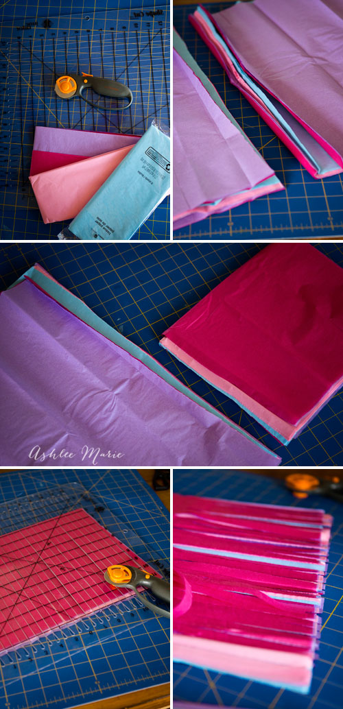 cutting strips into your tissue paper for creating tissue tassels