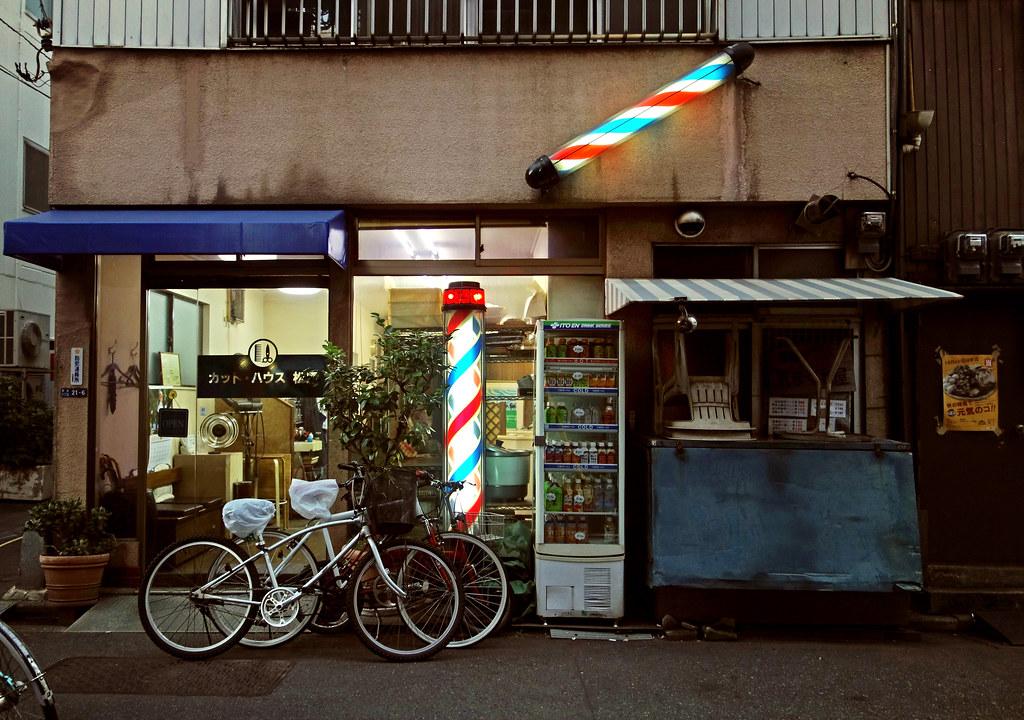 Bike hairdresser, Tsukiji, Tokyo, Japan