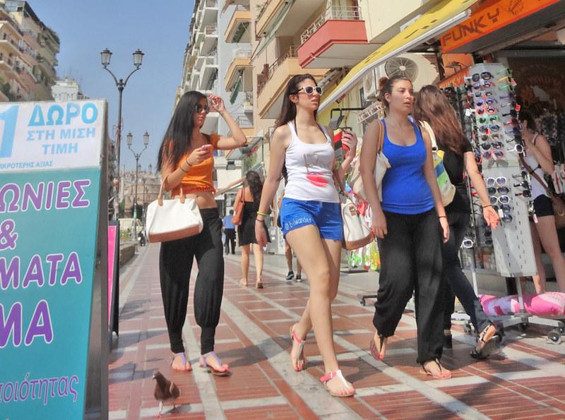 Macedonia, Thessaloniki, teen girls' street fashions, Greece #Μacedonia