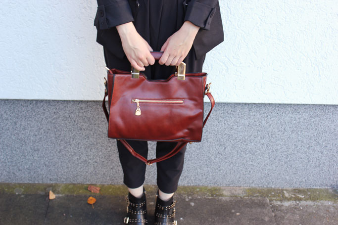 Vintage satchel bag - vintage leather bag - vintage tasche blogger
