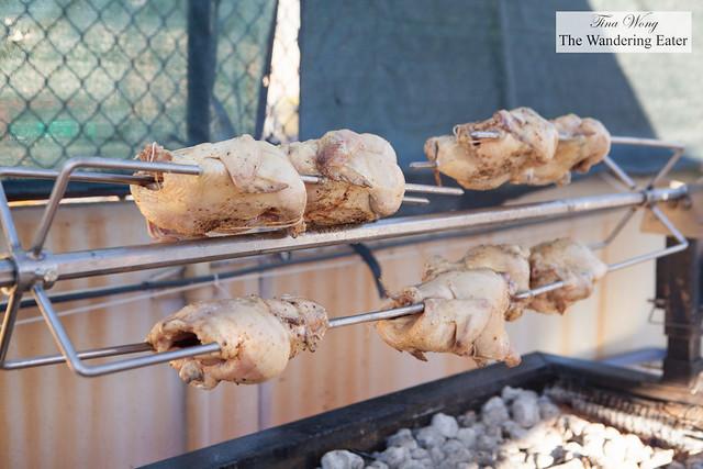 Rotisserie chicken at Chef Seamus Mullen of El Colmado Butchery stall