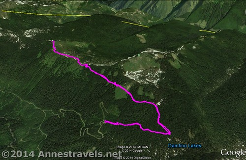 A visual map of the Canyon Ridge Trail - up is north - Mt. Baker-Snoqualmie National Forest, Washington