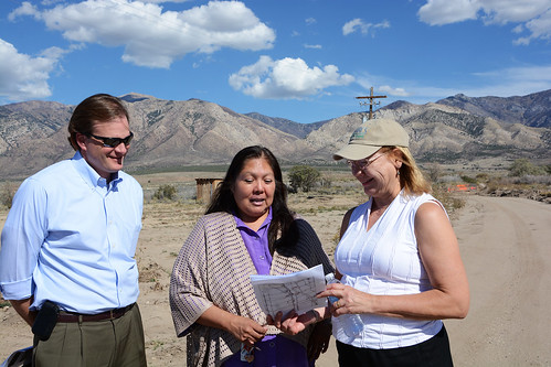 USDA Under Secretary Robert Bonnie (left), Chairwoman Lori Bear of the Skull Valley Band of the Goshute, and Deputy Under Secretary Ann Bartuska (right) discuss the impact of flooding on tribal lands. USDA photo.