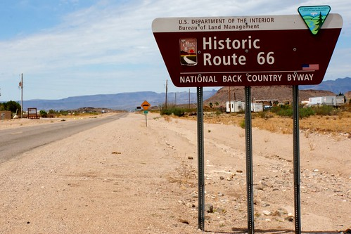 Historic 66 sign on Oatman Road, Kingman, Arizona