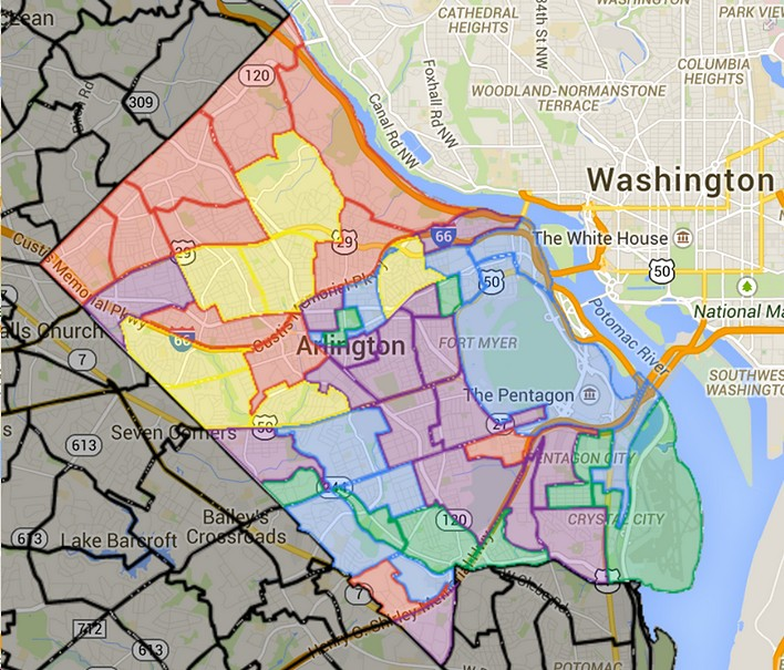 Map Where Was The Crossover Voting In Arlington Yesterday Blue