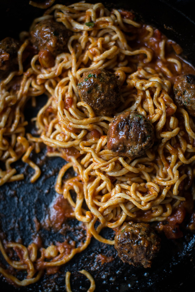 Homemade Spaghetti & Bison Meatballs with Porcini Truffle Sauce