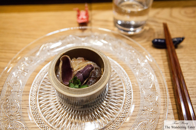 Boiled peanut with cuttlefish noodles and shiso