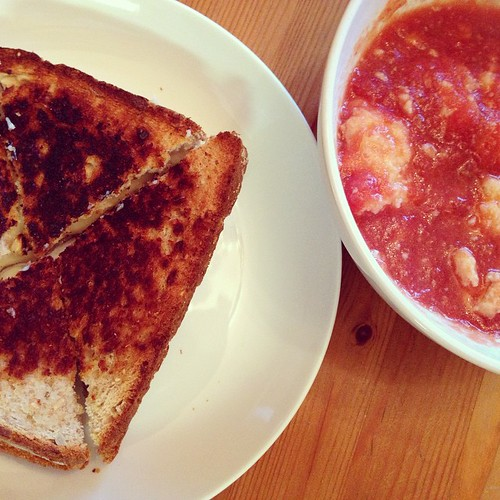 Grilled cheese and tomato soup with butter dumplings for dinner tonight.