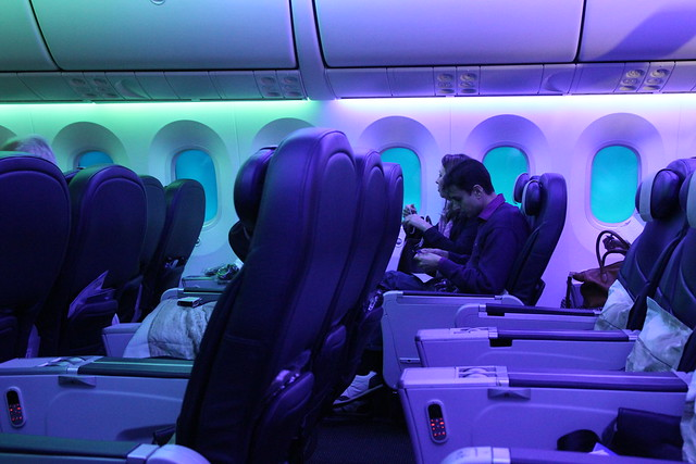 Mood lighting on the 787 Dreamliner