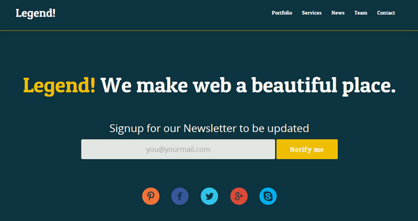 Legend: Free Responsive One Page Template – Built on Twitter Bootstrap