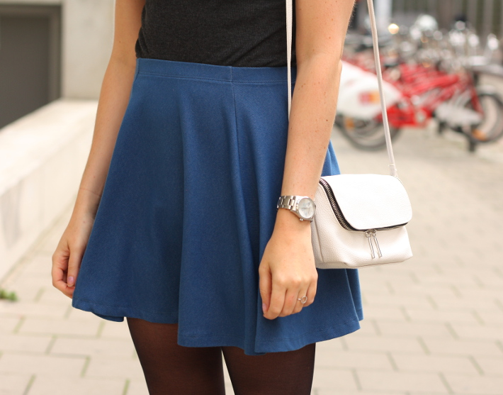 denim skater skirt zadig&voltaire watch cross body bag