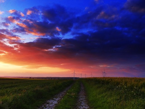 road sunset sky nature weather clouds germany landscape deutschland countryside spring colours view path windmills fields northrhinewestphalia
