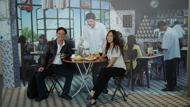 Trick-eye type backdrop of traditional HK cha chan teng