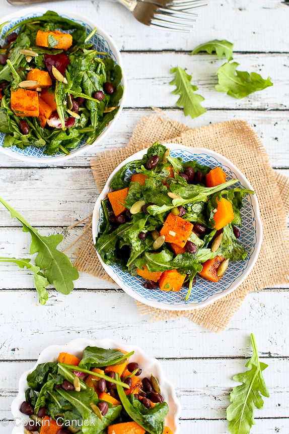 Roasted Butternut Squash Salad with Sriracha Lime Dressing Recipe...A fantastic vegan and Meatless Monday meal.  Only 219 calories and 6 Weight Watcher PP. | cookincanuck.com