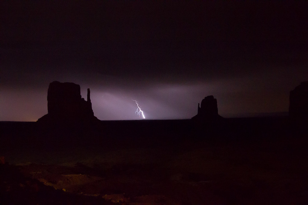 Lightning strikes in Monument Valley