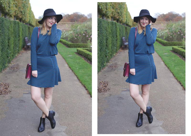 Blue Dress, Burgundy Bag, Bumpkin Betty