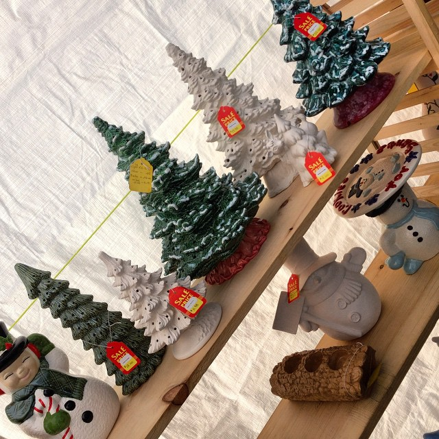Yay!!! Ceramic Christmas trees!! And you can paint your own ornaments here today!! Bring the kids!!! #shopalyssas #shoplocal
