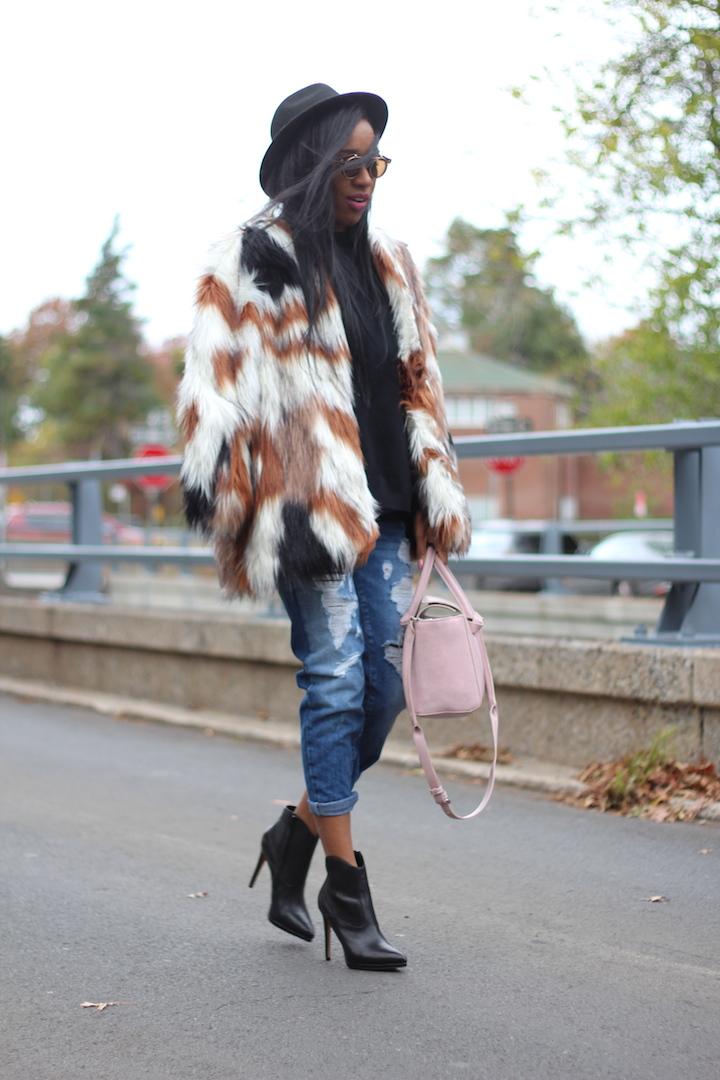 Multi color Faux Fur Coat