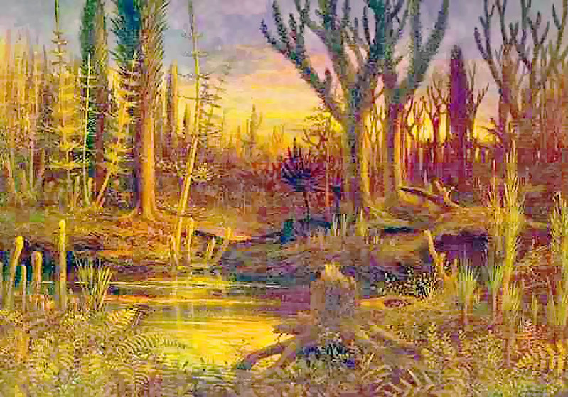 Artistic depiction of early Devonian land-flora